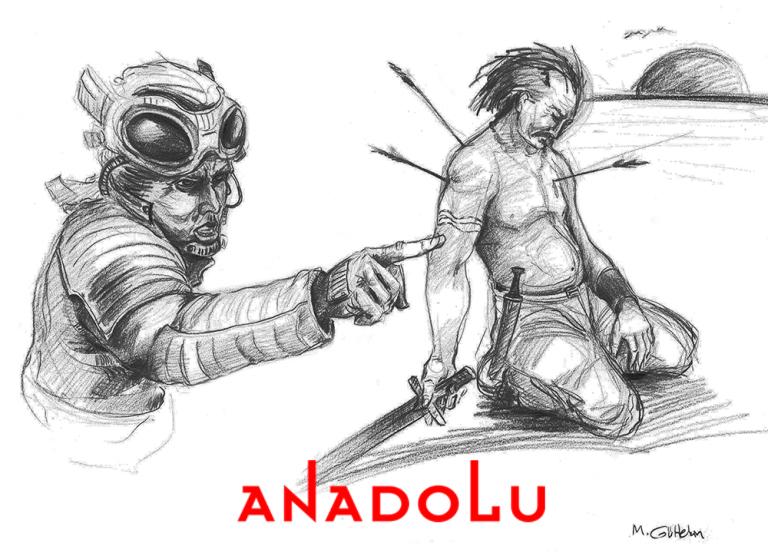 Karakalem İmgesel Yaralanan Adam Çizimi Bursa