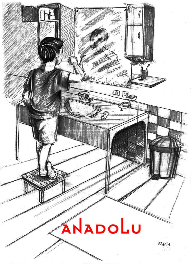 Karakalem Diş Fırçalayın Çocuk Çizimleri Bursa