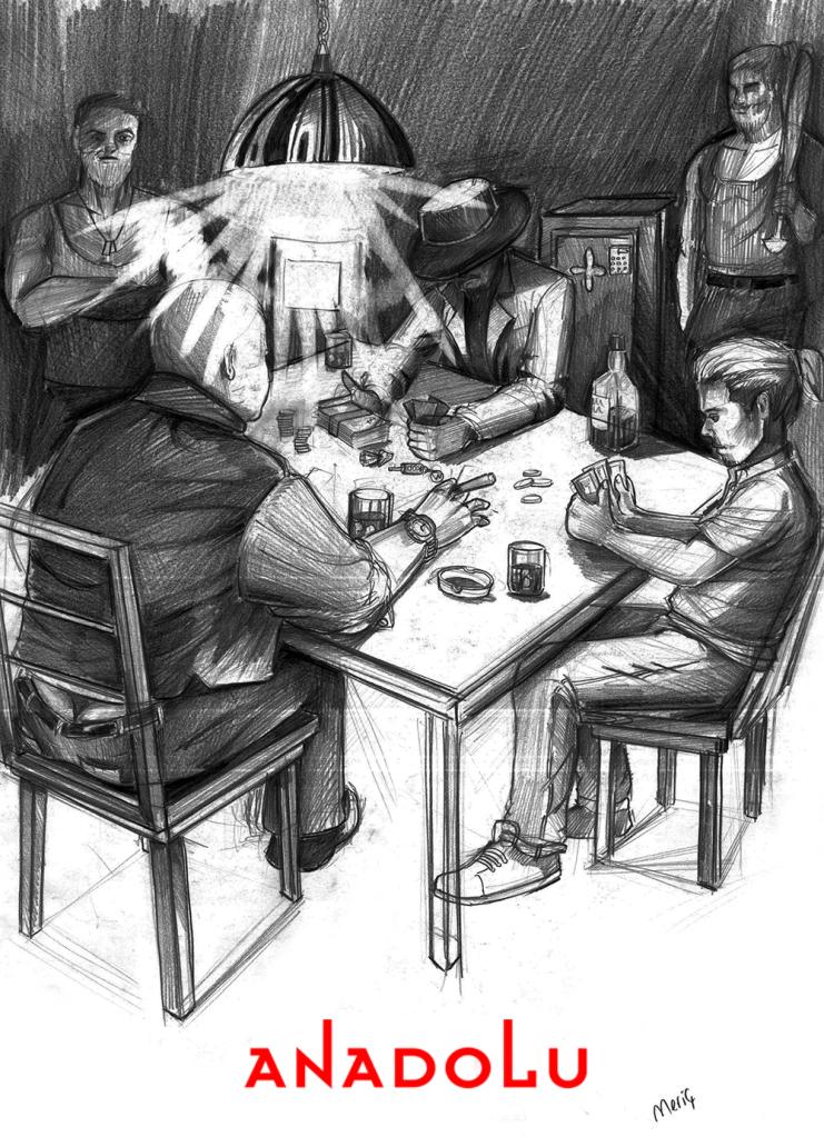 İmgesel karakalem kahvede oyun oynayanlar Bursa