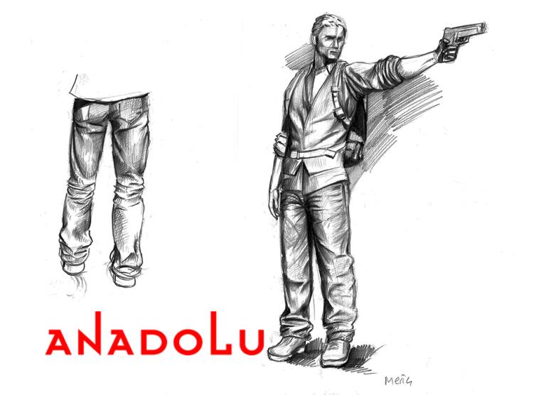 Karakalem Silahlı Atış Yapan İnsan Çizimleri Bursa