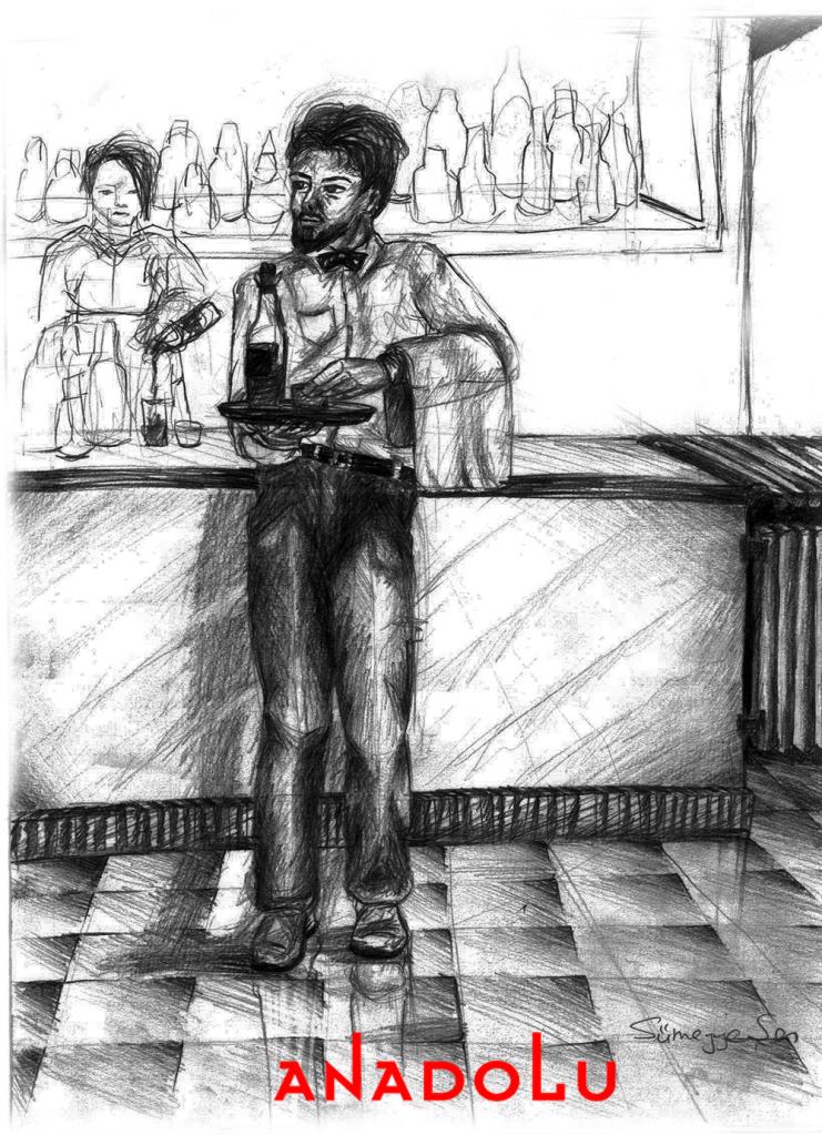 Karakalem Garson Çizim Örneği Bursa