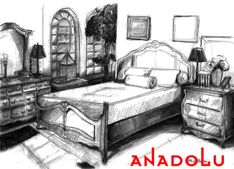 Bursada Bir Yatak Odası Çizimleri
