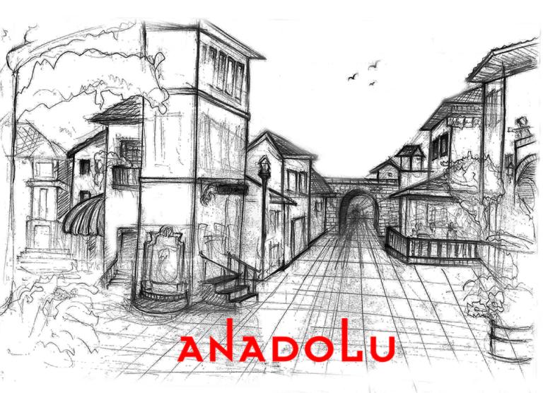 Karakalem Bir Sokak İmgesel Çizim Örneği Bursa